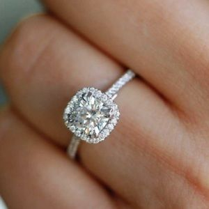 Stamped 925 Emerald cut sapphire engagement ring